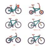 Ensemble de différents types bicyclettes d'illustrations Image libre de droits