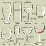 Ensemble de différents verres, vecteur Photo libre de droits