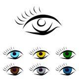 Ensemble de différents yeux de couleur illustration stock