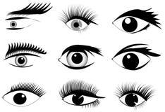 Ensemble de différents yeux noirs et blancs peints Image libre de droits