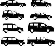Ensemble de différentes voitures de silhouettes d'isolement dessus Photographie stock libre de droits