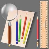 Ensemble de différents articles d'école, illustration de vecteur Photographie stock