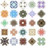 Ensemble de différents modèles colorés sur une fractale abstraite Image stock