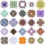 Ensemble de différents modèles colorés sur une fractale abstraite Photographie stock libre de droits