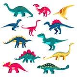 Ensemble de dinosaure Illustration plate color?e de vecteur La collection mignonne de Dino, enfants conçoivent des éléments d'iso illustration de vecteur