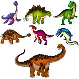 Ensemble de dinosaurs Illustration d'isolement de vecteur Images libres de droits