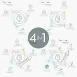 Ensemble de 4 dispositions de conception infographic modernes Photo libre de droits