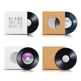 Ensemble de disque de vinyle Masquez le fond blanc d'isolement Le calibre vide réaliste d'un plat de disque de musique avec la co Image libre de droits