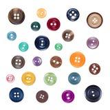 Ensemble de divers boutons en plastique colorés de couture, d'isolement sur le blanc illustration libre de droits