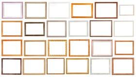 Ensemble de divers cadres de tableau en bois d'isolement Images stock