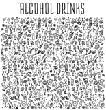 Ensemble de divers cocktails et boissons non alcoolisées de griffonnages illustration stock