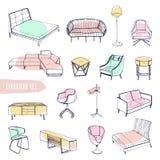 Ensemble de divers meubles Différents types tirés par la main sofas, chaises et fauteuils, tables de chevet, lits, tables, lampes Photos stock