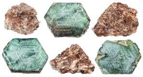 Ensemble de divers minerais de phlogopite d'isolement Images stock