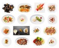 Ensemble de divers plats de poisson d'isolement sur le blanc Image libre de droits