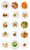 Ensemble de divers plats de poisson sur le blanc Photos stock