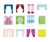 Ensemble de divers rideaux, décoratif, de différents matériaux, types, couleurs illustration libre de droits