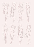 Ensemble de diverse silhouette nue de femme Belle fille aux cheveux longs dans différentes poses Illustration tirée par la main d Images libres de droits