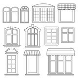 Ensemble de diverses fenêtres avec des tentes Image libre de droits