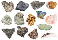 Ensemble de diverses pierres rugueuses d'isolement sur le blanc Photographie stock