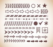 Ensemble de diviseurs de flèche de griffonnage, d'indicateurs, de bande de danger et d'éléments de conception dans le style de vi illustration libre de droits