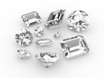 Ensemble de dix diamants blancs Photographie stock libre de droits