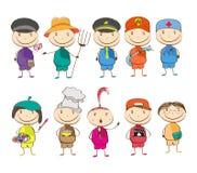 Ensemble de dix enfants avec différentes professions Image libre de droits
