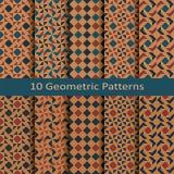 Ensemble de dix modèles colorés géométriques de vecteur sans couture conception pour le paquet, couverture, textile Photo libre de droits