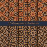 Ensemble de dix modèles colorés géométriques de vecteur sans couture conception pour le paquet, couverture, textile Images stock