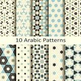 Ensemble de dix modèles géométriques traditionnels arabes de vecteur sans couture conception pour des couvertures, textile, empaq illustration stock