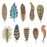 Ensemble de dix plumes Images libres de droits