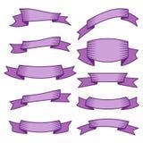 Ensemble de dix rubans et bannières pourpres pour le web design Image stock