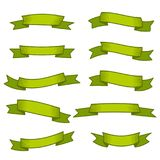 Ensemble de dix rubans et bannières verts pour le web design Images libres de droits