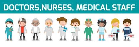 Ensemble de docteur, infirmières, personnel de médecine dans le style plat d'isolement sur le fond blanc L'équipe de personnel mé Photos libres de droits