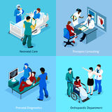 Ensemble de docteur Patient Isometric Icon Images stock