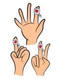 Ensemble de doigt blessé, main enveloppée dans le bandage avec le magma rouge de sang Illustration de vecteur d'isolement sur le  Photographie stock libre de droits