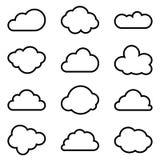 Ensemble de douze formes différentes de vecteur des nuages Photographie stock