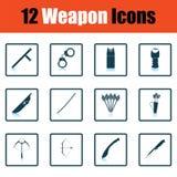 Ensemble de douze icônes d'arme illustration de vecteur