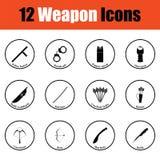 Ensemble de douze icônes d'arme Photos libres de droits