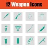 Ensemble de douze icônes d'arme Images libres de droits