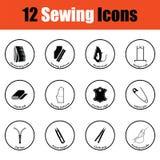 Ensemble de douze icônes de couture Image stock