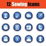 Ensemble de douze icônes de couture illustration stock