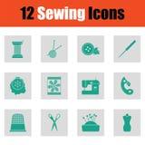 Ensemble de douze icônes de couture illustration de vecteur