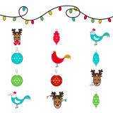 Ensemble de douze icônes pour la nouvelle année et le Noël Photographie stock
