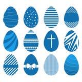 Ensemble de douze oeufs de pâques dans le style géométrique plat Photo libre de droits