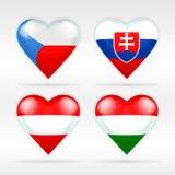 Ensemble de drapeau de coeur de Tchèque, de la Slovaquie, de l'Autriche et de la Hongrie d'états européens Photo stock