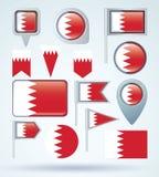 Ensemble de drapeau de collection du Bahrain, illustration de vecteur Photo libre de droits