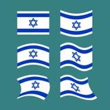 Ensemble de drapeau de l'Israël Ruban israélien de bannière Symbole juif d'état illustration stock