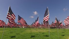 Ensemble de drapeaux américains flottant dans le vent sur Memorial Day Los Angeles, la Californie, Etats-Unis banque de vidéos