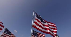 Ensemble de drapeaux américains flottant dans le vent sur Memorial Day Los Angeles, la Californie, Etats-Unis clips vidéos