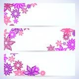 Ensemble de drapeaux avec des fleurs Image stock
